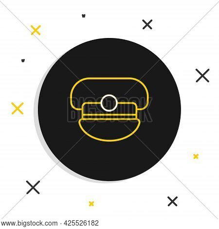 Line Captain Hat Icon Isolated On White Background. Colorful Outline Concept. Vector