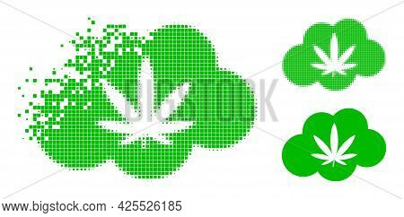 Dissipated Dot Cannabis Smoke Pictogram With Halftone Version. Vector Destruction Effect For Cannabi
