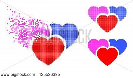 Fractured Pixelated Love Hearts Icon With Halftone Version. Vector Destruction Effect For Love Heart