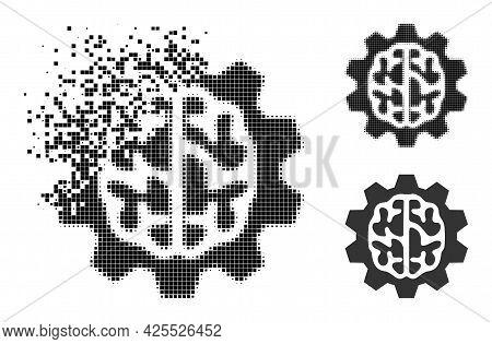Shredded Pixelated Brain Gear Icon With Halftone Version. Vector Destruction Effect For Brain Gear I