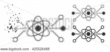 Fractured Dotted Quantum Circuit Icon With Halftone Version. Vector Wind Effect For Quantum Circuit