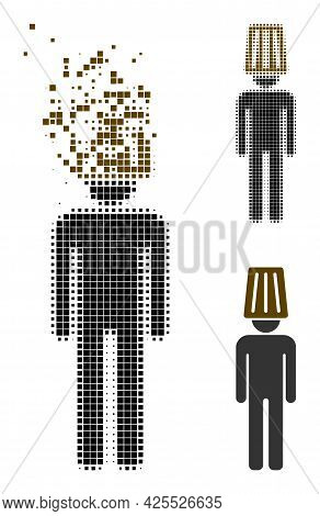 Dissipated Pixelated Idiot Man Icon With Halftone Version. Vector Destruction Effect For Idiot Man P