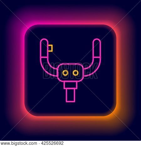 Glowing Neon Line Aircraft Steering Helm Icon Isolated On Black Background. Aircraft Control Wheel.