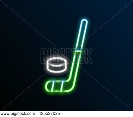 Glowing Neon Line Ice Hockey Stick And Puck Icon Isolated On Black Background. Colorful Outline Conc