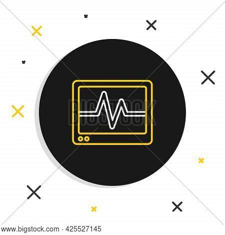 Line Computer Monitor With Cardiogram Icon Isolated On White Background. Monitoring Icon. Ecg Monito