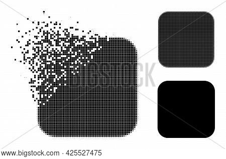 Moving Pixelated Rounded Square Glyph With Halftone Version. Vector Destruction Effect For Rounded S