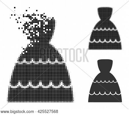 Shredded Pixelated Bride Dress Glyph With Halftone Version. Vector Destruction Effect For Bride Dres