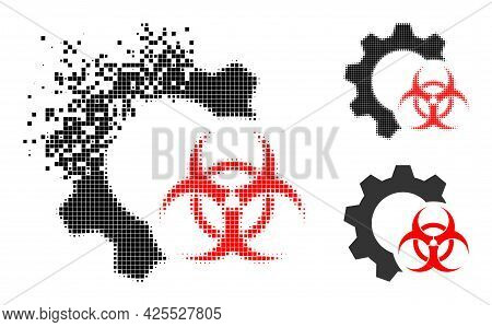 Shredded Pixelated Biohazard Industry Pictogram With Halftone Version. Vector Wind Effect For Biohaz