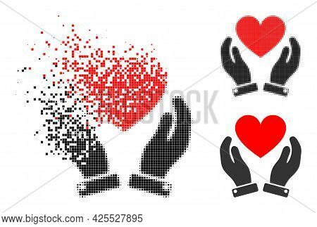 Dissolving Dot Love Heart Care Hands Icon With Halftone Version. Vector Wind Effect For Love Heart C