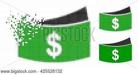 Dissolved Pixelated Dollar Bills Pictogram With Halftone Version. Vector Destruction Effect For Doll