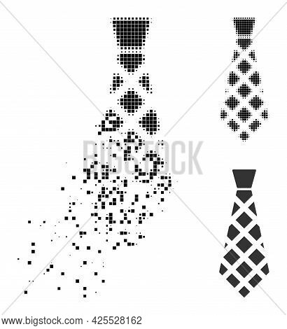 Damaged Pixelated Checkered Tie Pictogram With Halftone Version. Vector Wind Effect For Checkered Ti