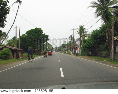 West Coast, Sri Lanka - 10 Jan 2011: The Street In The Small Village On West Coast Of Indian Ocean,