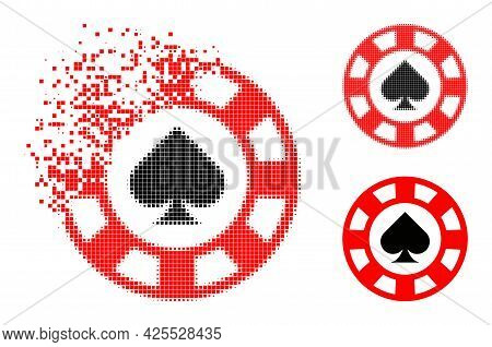 Moving Pixelated Spades Casino Chip Pictogram With Halftone Version. Vector Destruction Effect For S