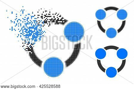 Dust Pixelated Collaboration Pictogram With Halftone Version. Vector Wind Effect For Collaboration I