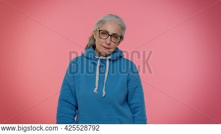 Upset Elderly Granny Woman Wish, Waiting For Good Luck And Loses Becoming Surprised Sudden Lottery R
