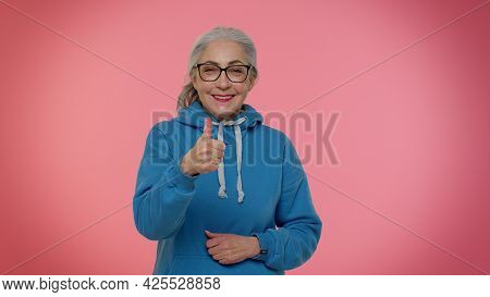 Senior Old Granny Woman Raises Thumbs Up Agrees With Something Or Gives Positive Reply Recommends Ad