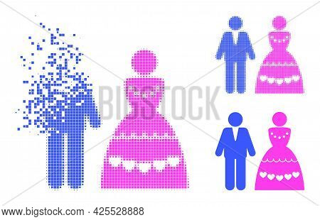Destructed Dotted Marriage Couple Icon With Halftone Version. Vector Destruction Effect For Marriage