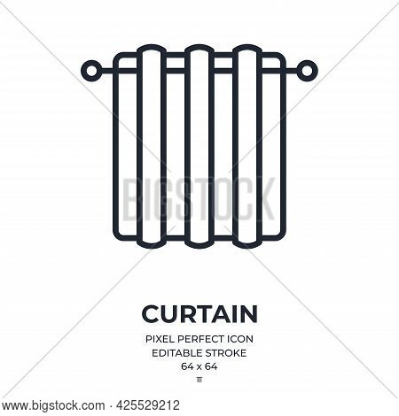 Curtain Editable Stroke Outline Icon Isolated On White Background Flat Vector Illustration. Pixel Pe