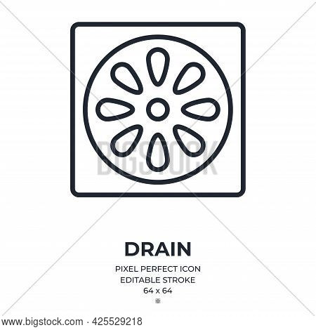 Shower Drain Editable Stroke Outline Icon Isolated On White Background Flat Vector Illustration. Pix