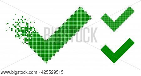 Dispersed Pixelated Okay Icon With Halftone Version. Vector Wind Effect For Okay Icon. Pixelated Deg