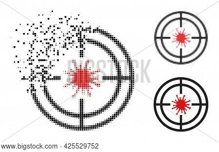 Disappearing Dotted Target Virus Pictogram With Halftone Version. Vector Destruction Effect For Targ