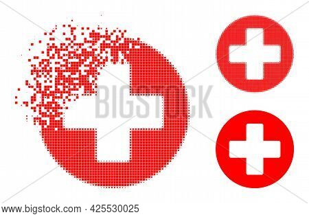 Shredded Dotted Medicine Icon With Halftone Version. Vector Wind Effect For Medicine Icon. Pixel Bur