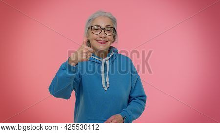 Great Work, Nice Job. Proud Senior Old Granny Woman With Gray-hair In Casual Blue Hoodie Applauds An