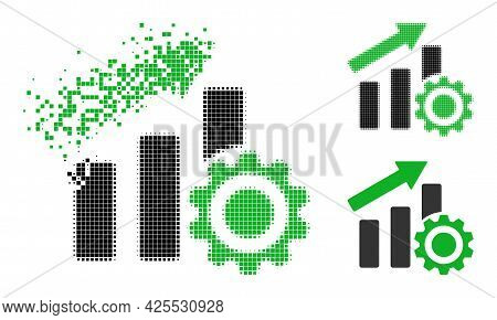 Dispersed Dot Progress Chart Settings Glyph With Halftone Version. Vector Destruction Effect For Pro