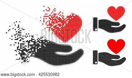Destructed Dotted Hand Offer Love Heart Pictogram With Halftone Version. Vector Destruction Effect F