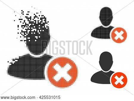 Fragmented Pixelated Delete User Pictogram With Halftone Version. Vector Wind Effect For Delete User