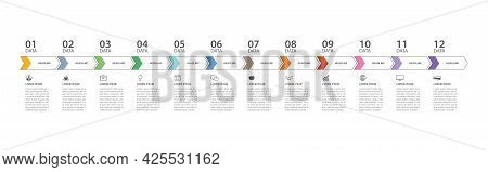12 Data Infographics Tab Thin Line Index Template. Vector Illustration Abstract Background. Can Be U