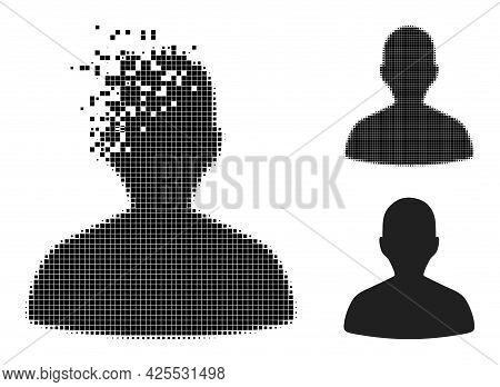 Moving Dot Person Profile Icon With Halftone Version. Vector Destruction Effect For Person Profile I