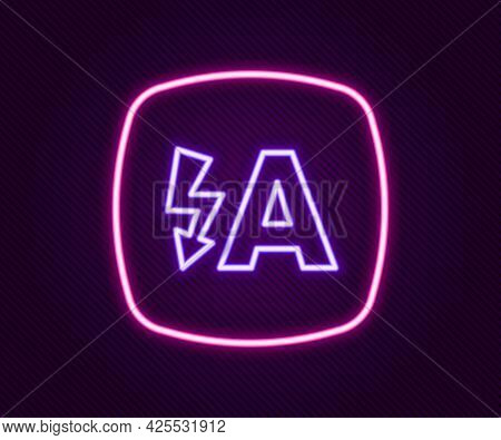 Glowing Neon Line Auto Flash Icon Isolated On Black Background. Automatic Flash. Colorful Outline Co