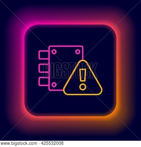 Glowing Neon Line House Under Protection Icon Isolated On Black Background. Home And Lock. Protectio
