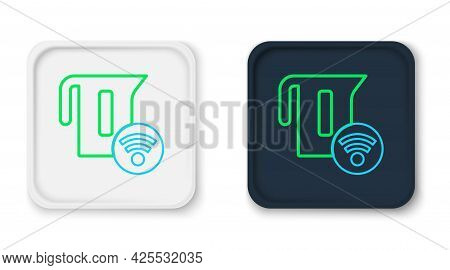Line Smart Electric Kettle System Icon Isolated On White Background. Teapot Icon. Internet Of Things