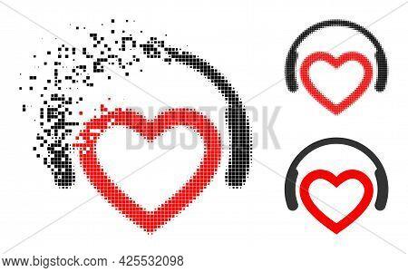 Fragmented Dotted Romantic Dj Headphones Pictogram With Halftone Version. Vector Destruction Effect