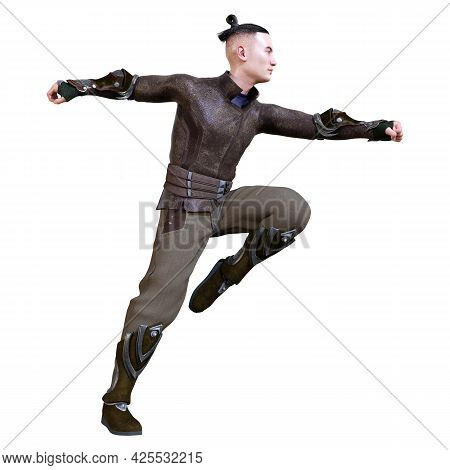 3d Rendering Of A Young Asian Man Exercising Kung Fu Isolated On White Background