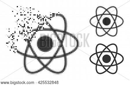 Dissipated Pixelated Atom Icon With Halftone Version. Vector Destruction Effect For Atom Symbol. Pix