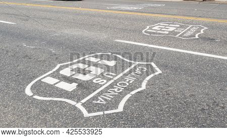 Pacific Ocean Coast Highway Road Marking On Asphalt, Historic Route 101, California State Route 1 Ro