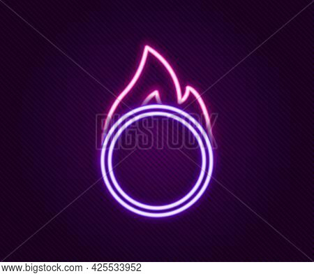 Glowing Neon Line Circus Fire Hoop Icon Isolated On Black Background. Ring Of Fire Flame. Round Fier