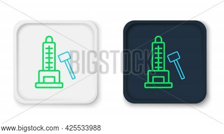 Line High Striker Attraction With Big Hammer Icon Isolated On White Background. Attraction For Measu