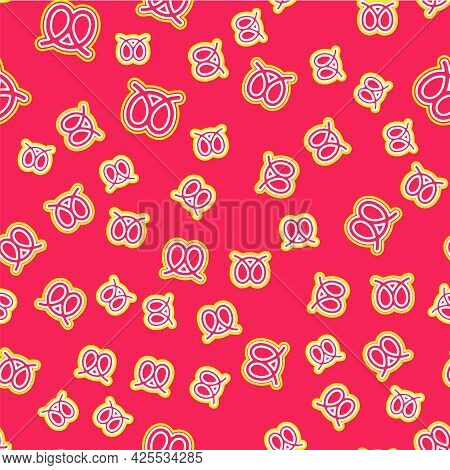 Line Pretzel Icon Isolated Seamless Pattern On Red Background. German Comfort Food Pastry. Oktoberfe