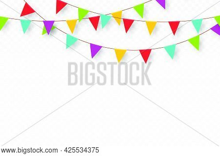 Carnival Garland With Pennants. Decorative Colorful Party Flags For Birthday Celebration, Festival A