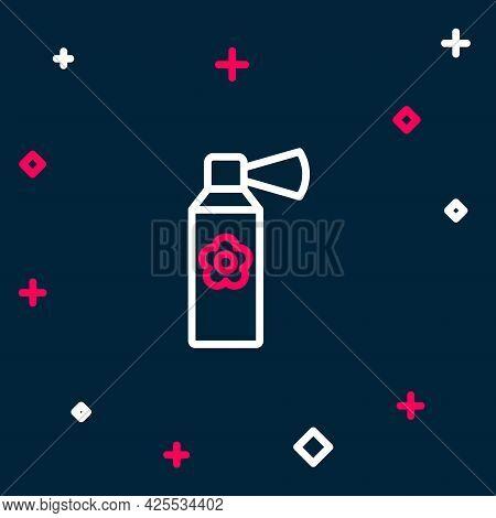Line Air Freshener Spray Bottle Icon Isolated On Blue Background. Air Freshener Aerosol Bottle. Colo
