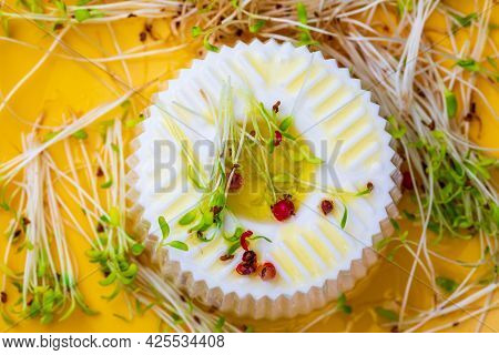 Fresh Cheese, Tender Alfalfa Sprouts And Virgin Olive Oil For A Healthy And Healthy Diet. Top View A