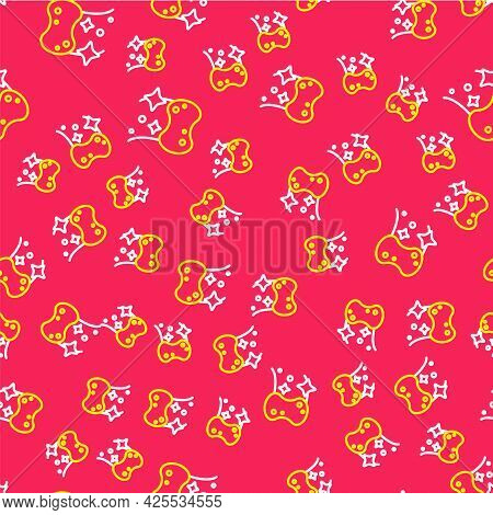 Line Sponge Icon Isolated Seamless Pattern On Red Background. Wisp Of Bast For Washing Dishes. Clean