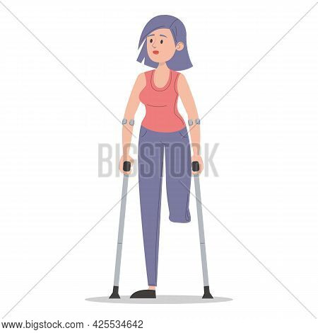 Young Woman On Crutches Isolated. Injured Lady