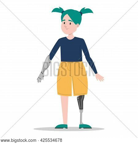 Happy Young Girl With The Prosthetic Limbs