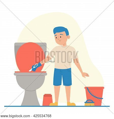 Kid Cleaning Dirty Toilet Vector Isolated. Hygiene