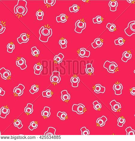 Line Anger Icon Isolated Seamless Pattern On Red Background. Anger, Rage, Screaming Concept. Vector